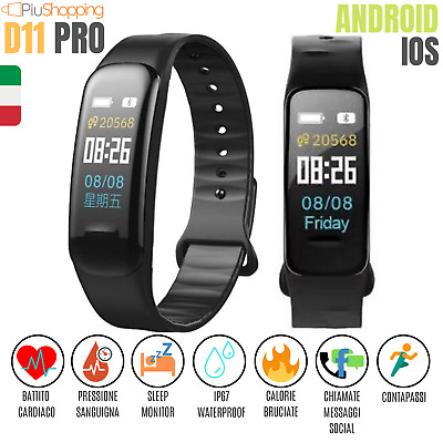D11 Smartwatch Orologio Cardiofrequenzimetro Smartband Sport Fitness Android Ios