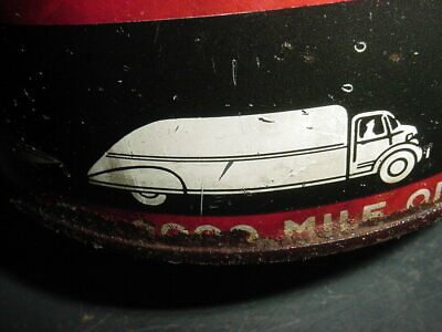 OLD CAR & TRUCK GRAPHIC * 1940s Vintage KENDALL MOTOR OIL Old 5 qt Tin Oil Can