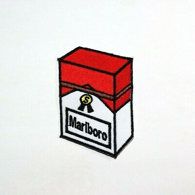 Funny Retro Smoking Cigarette Red Box Artwork Emblem Clothes Jeans Iron on patch