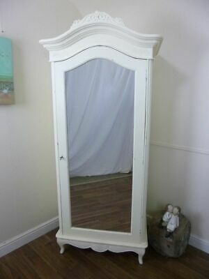 French Charroux Single Wardrobe In Cream - Shabby Chic Style French Armoire