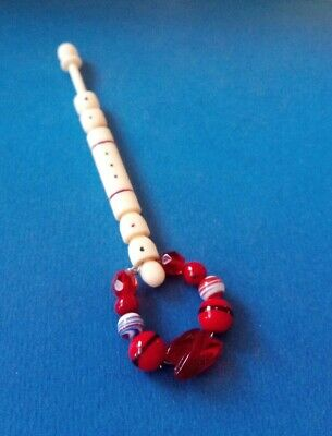 Victorian Bovine Bone Lace Bobbin. With Red & Black Dots & Stripes. Red Spangles