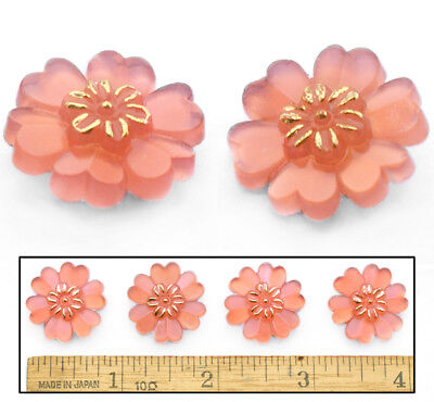22mm Vintage Czech PINK OPAL Realistic Violet Daisy Flower Glass Buttons 4pc