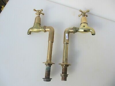 Victorian Brass Taps Antique Porcelain Caps Bronze Belfast Sink Basin Old Hughes