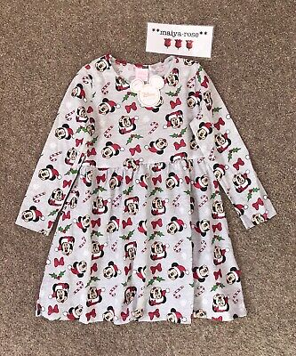 Primark Disney Mickey Minnie Mouse Girls Christmas Tunic Dress Age 4-5 6-7 Years