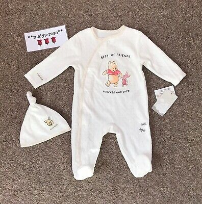 Primark Winnie The Pooh Baby Boys Girls Unisex Sleepsuit Hat Outfit 9-12 Months