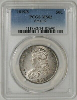 1819/8 Capped Bust Half 50c Small 9 O-101 MS62 PCGS   942012-2