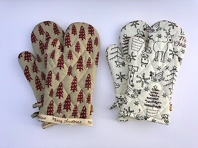 Raine & Humble Christmas Tree Themed Oven Gloves & Tea Towels - Oven Gauntlet -