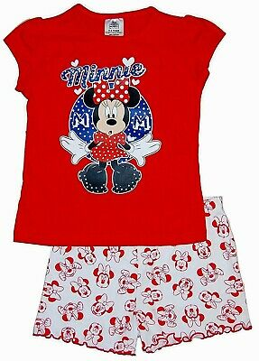 New Minnie Mouse Shortie Pyjamas Set Top & Shorts Disney Red Mix