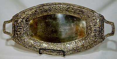 Derby S P Co Silver Plate Serving Tray Oval 01010 w/ Handels A2