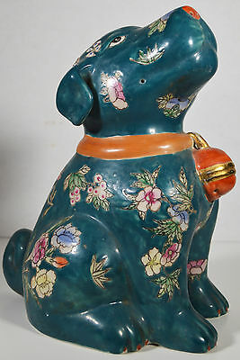 "9"" Vintage Hand Painted Asian Chinese Green Dog Puppy Relief Ornate Flowers"