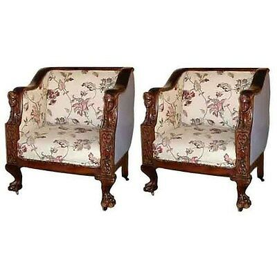 Pair of Victorian Mahogany Armchairs with Ladies Heads, 1800-1899 #4895