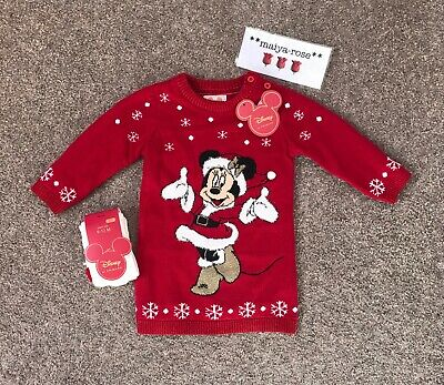 Primark Disney Baby Girls Minnie Mouse Christmas Jumper Dress Age 6-9 Months