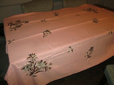 """Vintage Tablecloth Linen Embroidered Pink Brown / Gray flowers floral 70"""" x 54"""""""