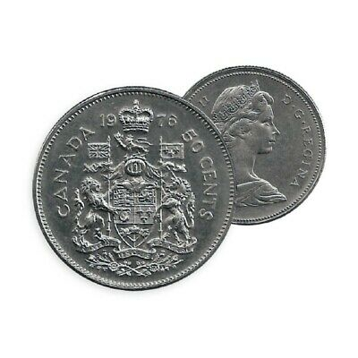 BU 1976 Canada 50 Fifty cent Coin Canada Half Dollar Coat Arms-Queen Elizabeth