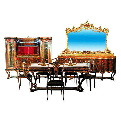 1920s Italian Walnut & Burl 9-Pc. Dining Suite with Fabulous Carvings #1244