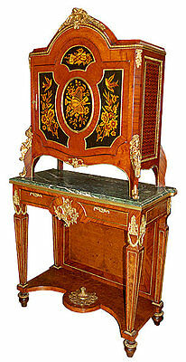 Two-Tier Inlaid Victorian Cabinet with Green Marble Top & Bronze Trim #5894
