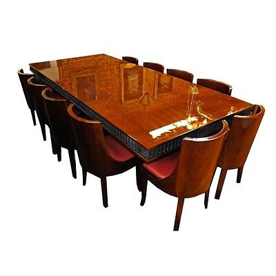 French Art Deco Dining Set with 12 chairs & Wrought Iron Base, circa 1920 #7028