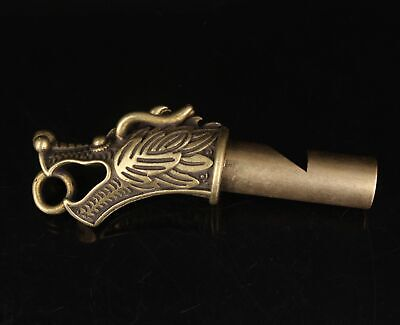Unique Collection China Old Bronze Hand-Cast Dragon Whistle Pendant Gift Whistle