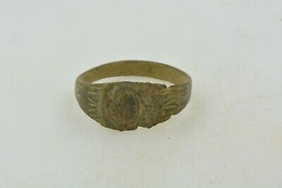 Antique Roman Byzantine Medieval bronze ring 100-1200 AD #10 Size 8 1/4