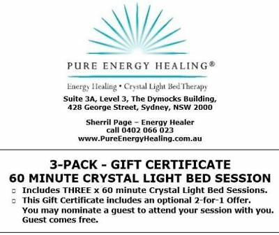 3-PACK 60 Minute Crystal Light Bed GIFT CERTIFICATE INCLUDES BONUS 2-FOR-1