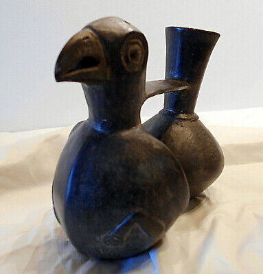 Pre Columbian CHIMU  Peru double bird bottle south america whistle spout