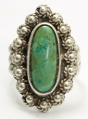 Vintage Navajo Sterling Silver Small Old Pawn Green Turquoise Flower Ring Sz6