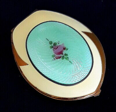 Vintage Elgin American Guilloche Enamel Ladies Compact Original Art Deco