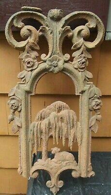 Antique Victorian Architectural Cast Iron Wall Fence Top Plaque Lamb Palm trees