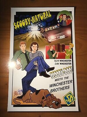 Scooby-Natural  11 X 17 Print Brian Kong Artist Signed Scooby Doo Supernatural