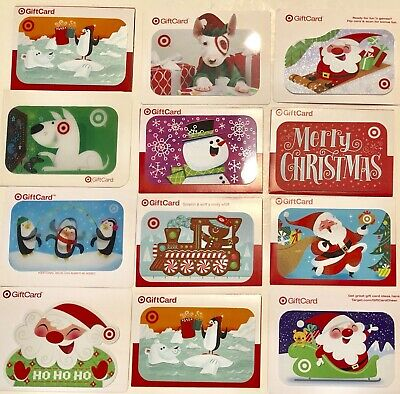 Lot-12 Target Christmas Gift Cards Bullseye Dog,Santa+ (No $ Value-Collectible)