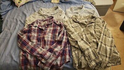 Womens Mixed Lot of 4 Button Up Cotton Shirts Old Navy Sonoma Size Large