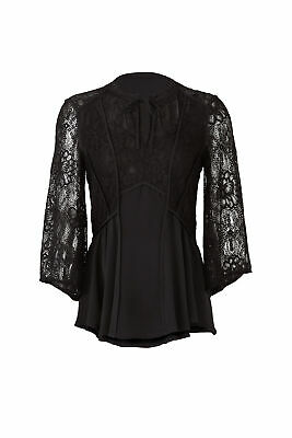 Badgley Mischka Women's Blouse Black US 12 Floral Lace 3/4 Sleeve $275- #195
