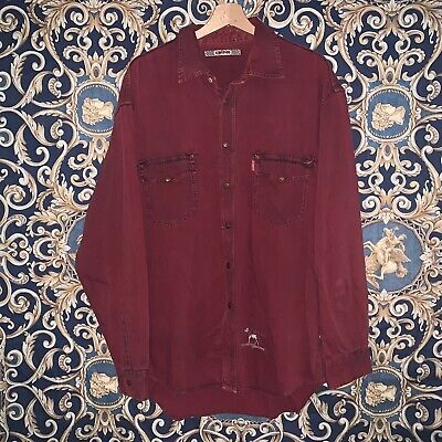 Rarissima Camicia Di Jeans Energie Vintage Rossa Denim Stone Washed Shirt Hype