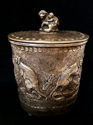 Embossed Silver Castillian Imports Footed Tobacco/Tea Caddy monkeys
