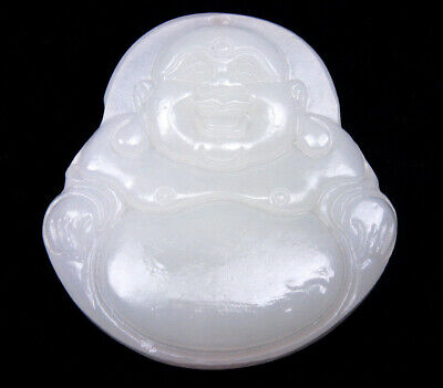 White Jade Pendant Big Belly Laughing Buddha Mi-Le Hand Carved #08131802