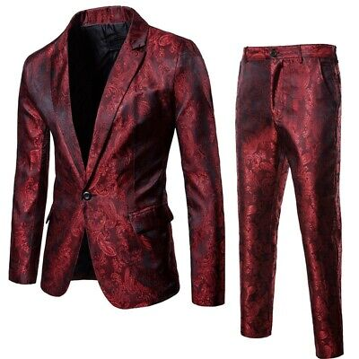 Mens Slim Jackets Pants Suits 2-Piece Lapel Western-Style Formal One buttoon New