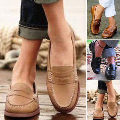 Womens Moccasin Loafers Slip On Peas Casual Shoes Leather Lazy Shoes Fashion
