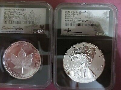 2019 Pride of Two Nations Two-Coin Set RCM ROYAL MINT NGC PFR70 Mercanti signed.