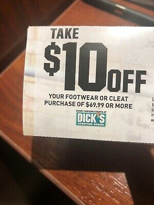 Dick's Sporting Goods $10 off Your Footwear Or Cleat Purchase Of $69.99 Or More