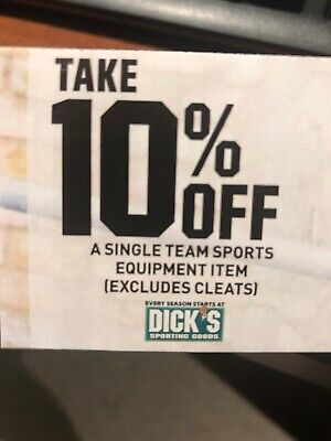 Dick's Sporting Goods 10% off A Single Team Sports Equipment Item Coupon