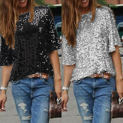 US STOCK Women Sequins Summer Short Sleeve Party Casual Tops T-Shirt Blouse Sexy