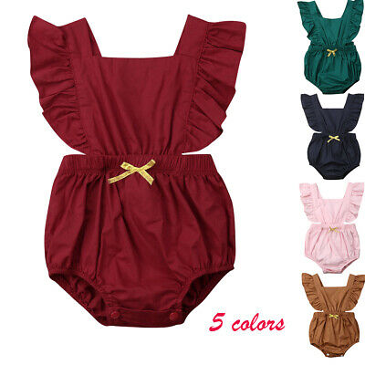 Newborn Infant Baby Girls Ruffle Romper Bodysuit Jumpsuit Clothes Outfit Sunsuit