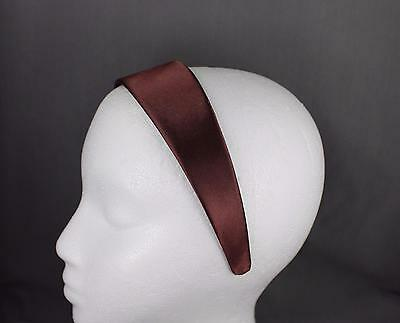 "Dark Brown 1.75"" wide satin fabric covered headband hair band accessory"
