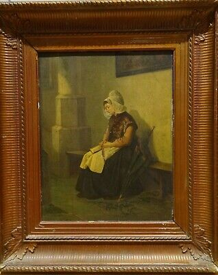 Fine Large 19th Century Dutch Girl Lady Prayer Church Interior Antique Painting