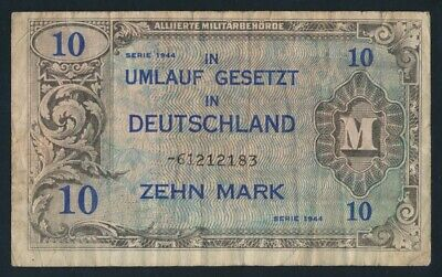 Germany: ALLIED OCCUPATION WWII 1944 10 Mark. Pick 194d F - Cat VF $27, VG $13+