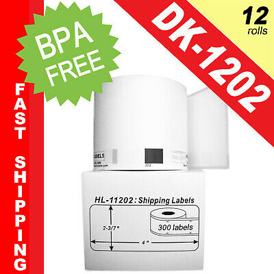 12 Brother 1202 DK-1202 Replacement Rolls Compatible w/ Brother DK 1202