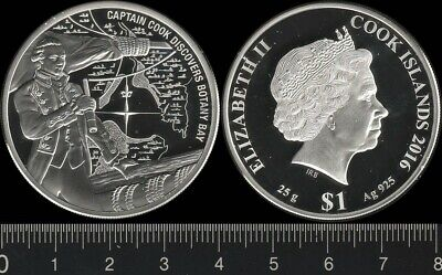 Cook Islands: 2016 $1 Queen Elizabeth II Cook Discovers Botany Bay Dollar silver
