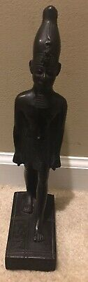 Rare Hand Carved Wood Egypt King Statue Egyptian Figurine Pharaoh Sculpture Art