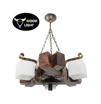 Wooden Chandelier Metal Pendant Lighting Retro Rustic Antique Ceiling Lamp