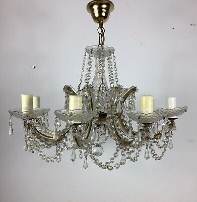 Antique 1920s Queen Anne Cut Crystal Chandelier Ceiling Lamp Light VTG Lighting